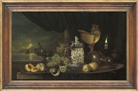 peaches on a silver platter, with a römer, grapes, lemon, a moonlit seascape beyond by gyula andreas bubárnik