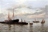 shipping at anchor on a calm sea by edward henry eugene fletcher