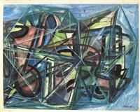 große informelle komposition aus farblich akzentuierten by fred thieler