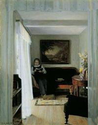interieur mit lesender frau by georg nicolaj achen