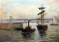 tug and sailing ship leaving harbour by edward henry eugene fletcher