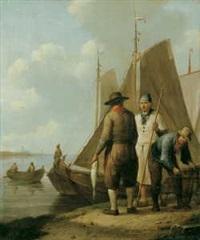 beim entladen des fischfangs im hafen by johannes koekkoek