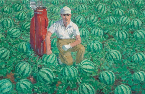 untitled golf player and watermelons by wang xingwei