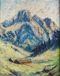 blaue alpengipfel mit schneefeldern und berghütten im tal by fritz baer