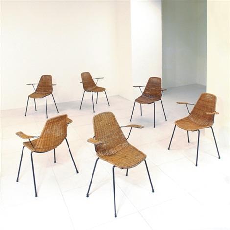 Great sei sedie impilabili con braccioli basket by franco for Sedie impilabili
