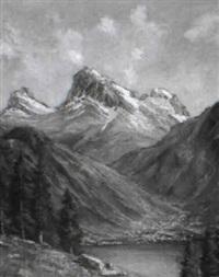 innerschweizer berglandschaft mit see by gottlieb wasem