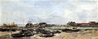 fishing boats at low tide by antoine vollon