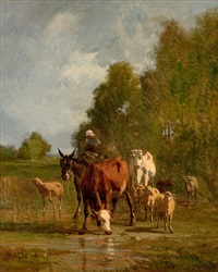 cattle at a drinking trough by carl rudolph huber