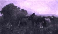 pferde auf der weide bei nacht by sergei viktorovich smirnov