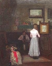 der maler und sein modell im atelier by karl theodor asen