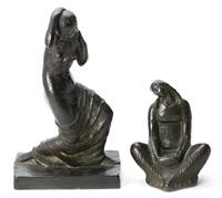 joven sentada y joven clásica (2 works) by fidel aguilar
