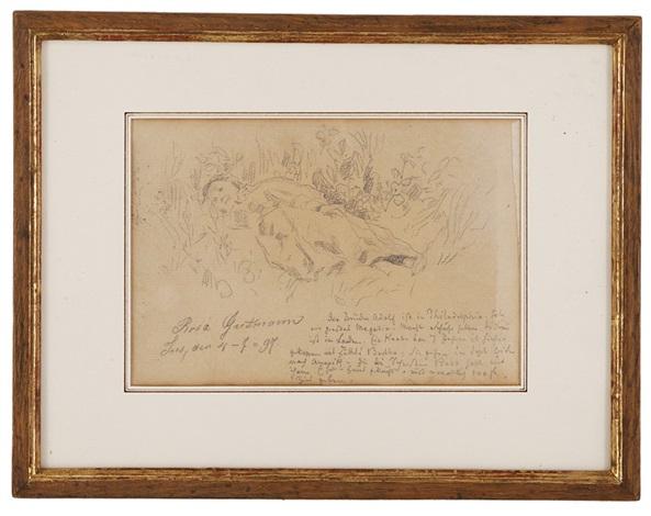 portrait de rosa guttmann endormie avec annotations by albert anker