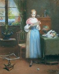 interieur mit einem mädchen, einen brief lesend by jenny maria fontaine