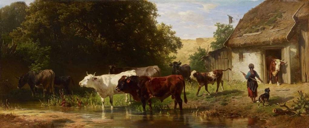 Austrieb der Herde by Johann Friedrich Voltz on artnet   {Herde 91}