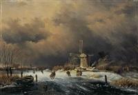 holländische winterlandschaft mit eisläufern vor einer stadtmauer by j.p. arends