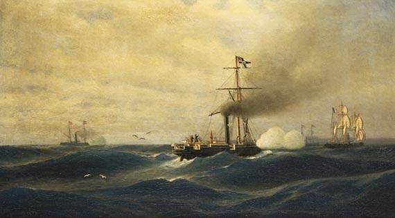 """seegefecht zwischen kanonenboot sms """"meteor"""" und dem französischen aviso """"bouvet"""" vor havanna am 12. november 1870 by robert parlow"""