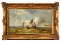 Seglande skepp utanför kusten, 1873