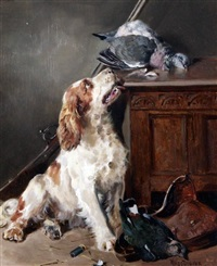 after the shoot, interior with setter beside game birds and an oak coffer by william woodhouse