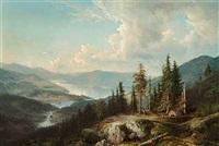 bjergrigt (norsk?) landskab med snoet flodlob by magnus thulstrup bagge