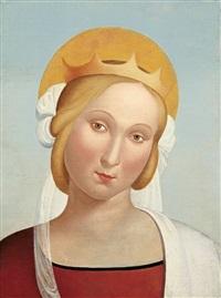 gekrönte madonna in rotem gewand und mit weissem schleier by franz pforr