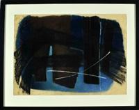 abstrakte komposition in blau, braun und schwarz by jürgen von hündeberg