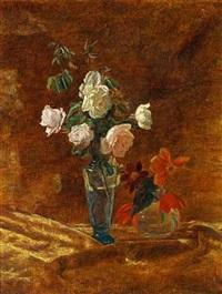 opstilling med roser og andre blomster i vaser by johannes cathrine krebs