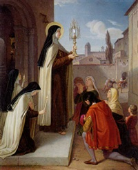 heilige klara vor einem kirchenportal mit der monstranz by johann baptist müller