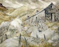 wool for carding, north wales by mildred eldridge