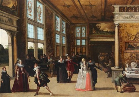 elegant company dancing in an interior by louis de caullery