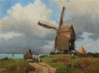rustic landscape with windmill by gustave edouard le senechal de kerdreoret