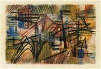 schraffierte komposition in pastell und aquarell auf papier by fred thieler