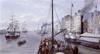 leaving the port of trouville by léon auguste asselineau