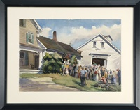 country auction with a crowd of people gathered in front of a barn by william macintyre jewell
