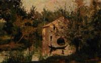 fransk landskab med hus ved en flod by henry eugène delacroix