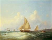ein dampfschiff und segelschiffe an der küste by le page