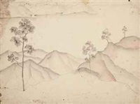 balinese landscape (recto) - study for seated man (verso) by walter spies