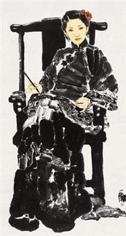 仕女 镜框 设色纸本 by huang yihan