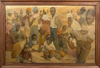 african village scene by oenone acheson