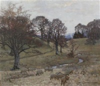 sheep in a wooded valley by alexander brownlie docharty