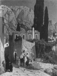 strassenszene auf capri by franz-gustav arndt