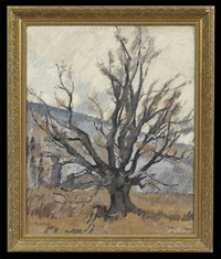 landscape with a barren tree by hildegard rath