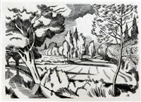 a suffolk stream, illustration for the country man by john northcote nash