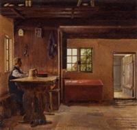 almueinterior med mand siddende ved et bord by christian (jens c.) thorrestrup