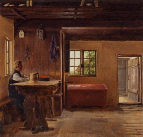 almueinterior med mand siddende ved et bord by christian jens c thorrestrup