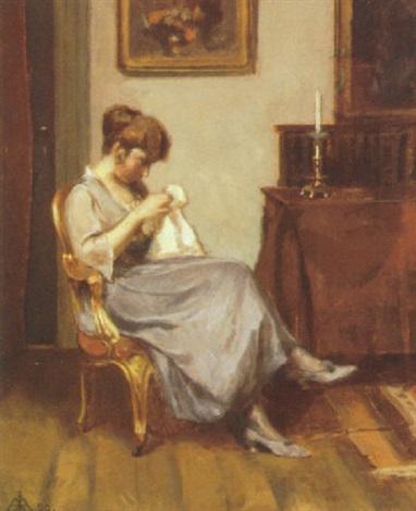 interior med syende kvinde by jorgen aabye