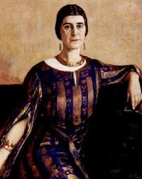 portrait einer jungen dame im art-déco-kleid by erich hennig