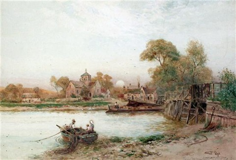 st nicolass church shoreham lancing college from the river pair by walter stuart lloyd
