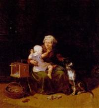 interior med bedstemor, der leger med sit barnebarn by nils anderson