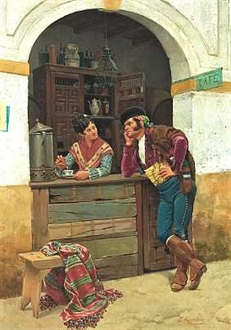 en spansk herre kurtiserer den unge servitrice på en gadecafé by enrique rumoroso y valdes