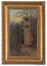portrait of a girl in garden by hamilton hamilton